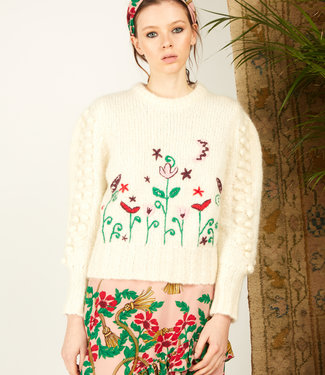 Hayley Menzies Gloria Jumper Cream Embroidered