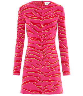 Hayley Menzies Jacquard Mini Vestito Tiger 54 Hot Pink