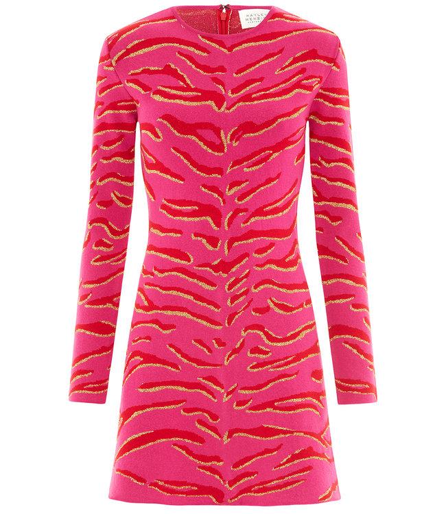 Hayley Menzies Jacquard Knit Mini Dress Tiger 54 Hot Pink