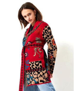 Hayley Menzies Enchanted Leopard Cotton Cardigan Red