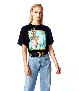 Hayley Menzies Enchanted Leopard Block T-Shirt Schwarz