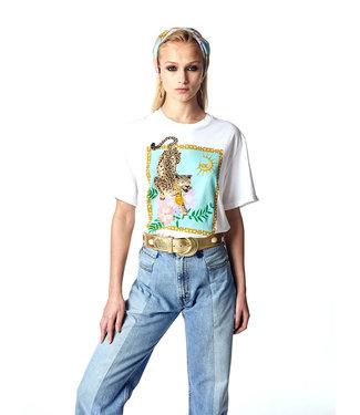 Hayley Menzies Enchanted Leopard Block T-Shirt Blanco