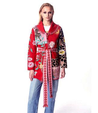 Hayley Menzies Enchanted Leopard Short Cardigan Red/Pink