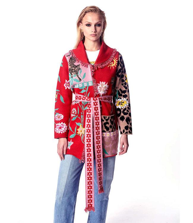 Hayley Menzies Enchanted Leopard Short Cardigan Rot/Pink