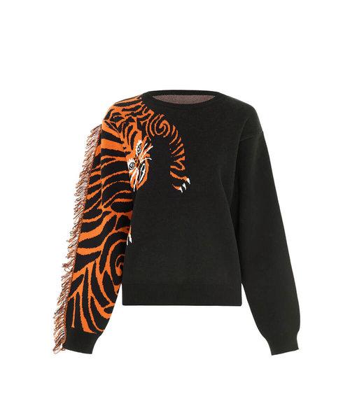 Hayley Menzies Tiger Head Jumper Schwarz