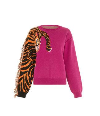 Hayley Menzies Tiger Head Jumper Magenta