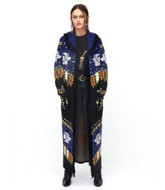 Hayley Menzies Drifters Merino Wool Long Cardigan blue