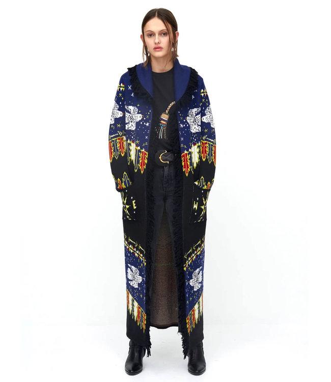 Hayley Menzies Drifters Merino Wool Long Cardigan blue
