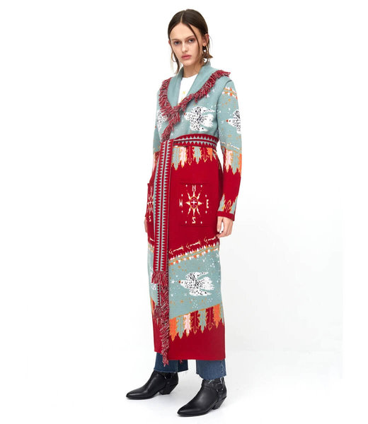 Hayley Menzies Drifters Merino Wool Long Cardigan Turquoise