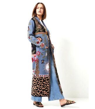 Hayley Menzies Enchanted Leopard Cotton Duster Blue