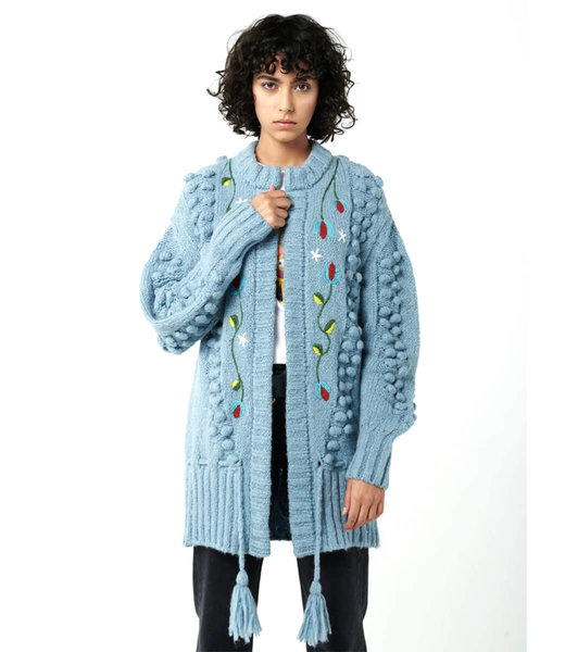 Hayley Menzies Gloria Embroidered Lana  Alpaca Midi Cardigan