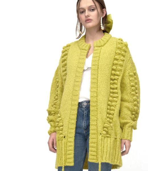 Hayley Menzies Gloria  Alpaca Woll Midi Cardigan - chartreuse