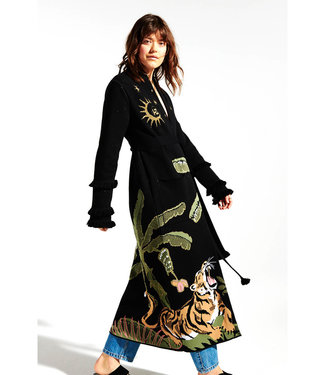 Hayley Menzies Roaring Tiger Cotton Jacquard Duster Nero