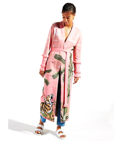 Hayley Menzies Roaring Tiger Cotton Jacquard Duster Pink