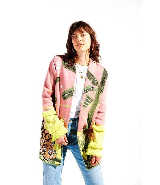 Hayley Menzies Drinking Tiger Cotton Jacquard Cardigan Pink