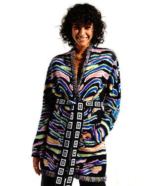 Hayley Menzies Shimmering Tiger Cotton Jacquard Cardigan black