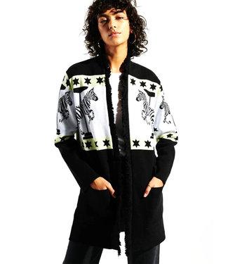 Hayley Menzies Carousel Cotton Jacquard Cardigan Black