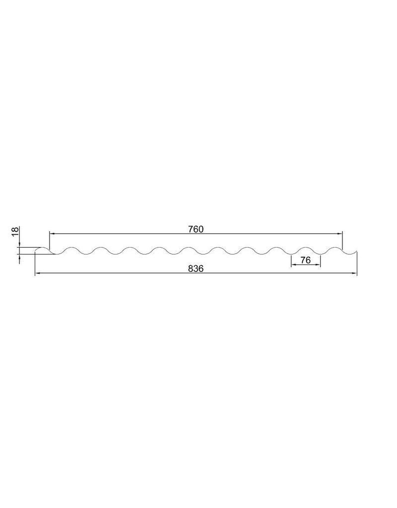 Polycarbonaat lichtplaat 76/18 mm