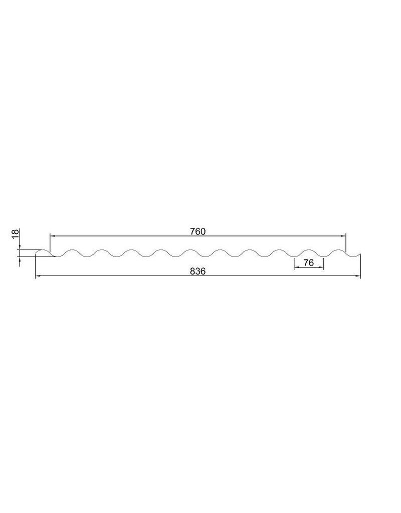 Metalen Golfplaat 76/18 Gebogen, RAL3009 Oxiderood