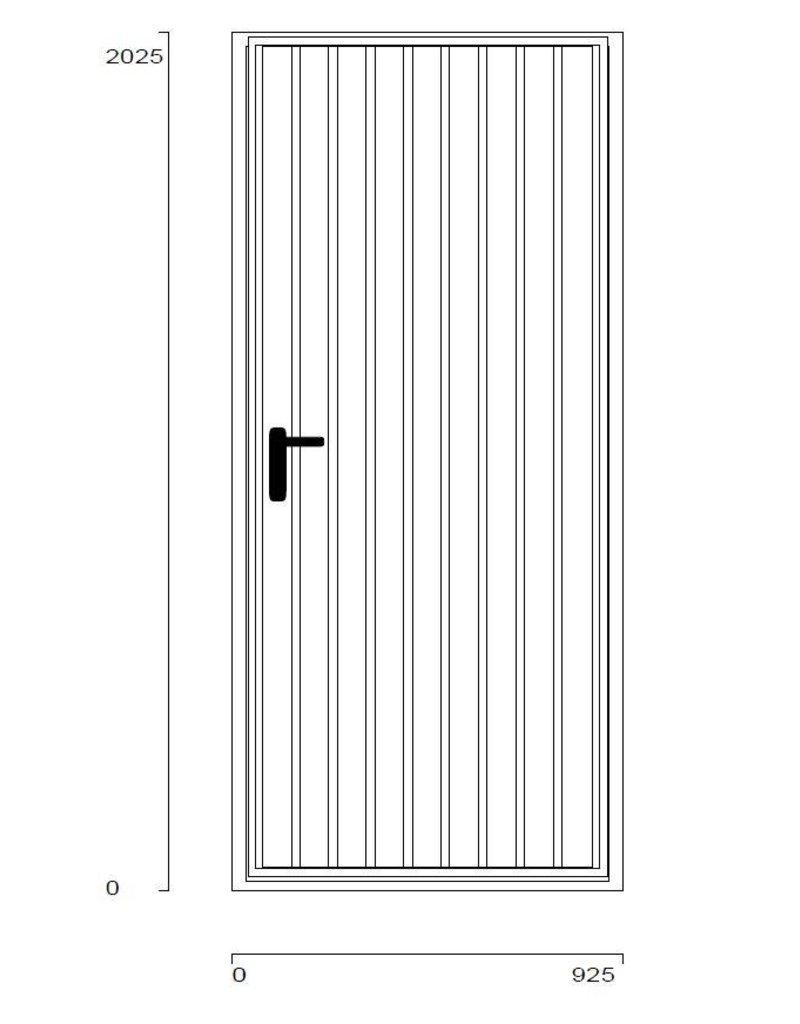 Stalen loopdeur, incl frame, RAL 9006 Blank Aluminium