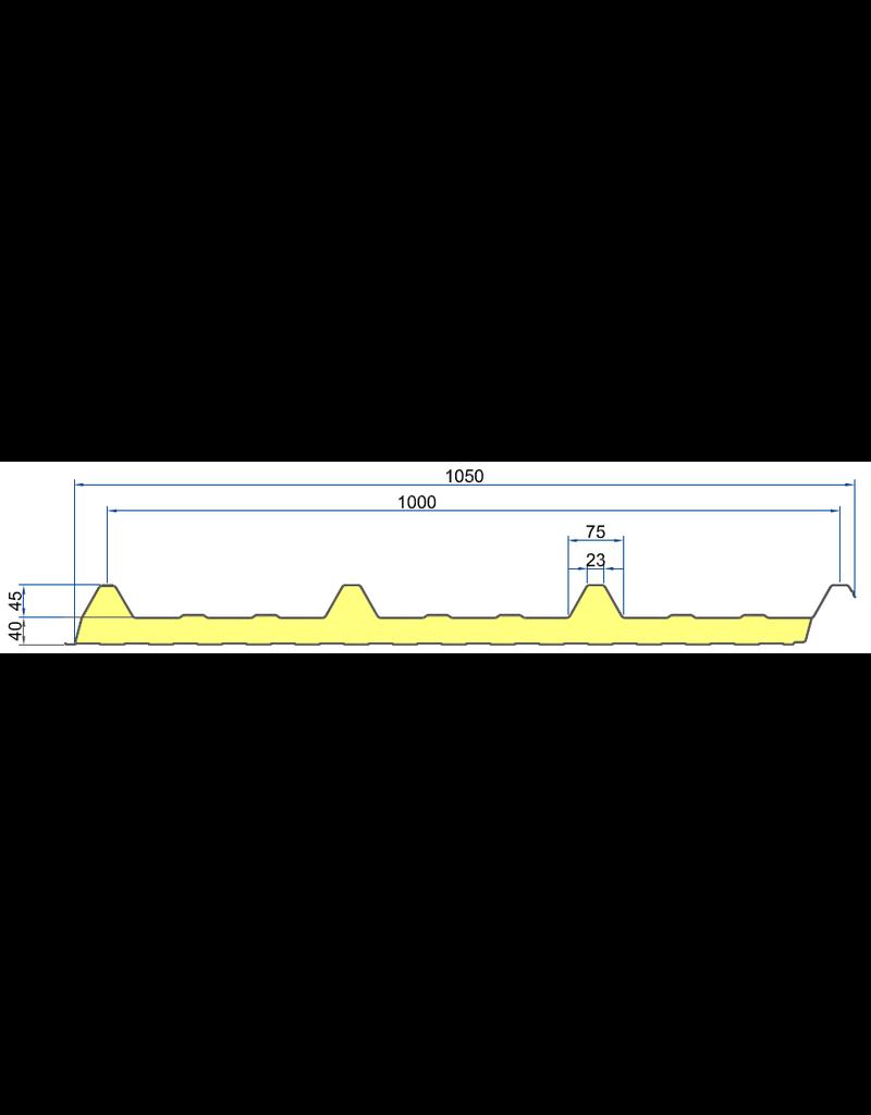 Sandwichpaneel Dak 1000, 40/85 mm Antraciet