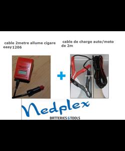 Chargeur Fronius 2 cables (crocodile+allume cigare voiture et moto BMW)