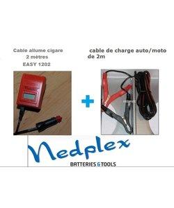 Easy 1202 2 cables crocodile +allume-cigare