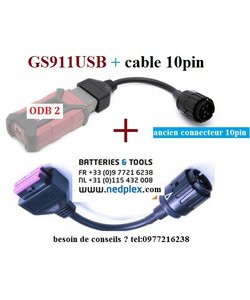 GS911USB (odb2) met  cable 10pin