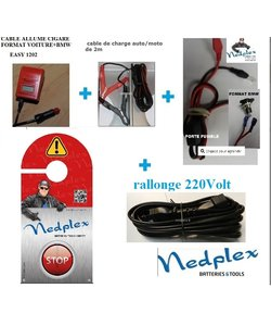 chargeur Fronius Easy1202 2 cables (croco+Allume C)+12v cable batterie (30cm)+porte fusible+cable 220V