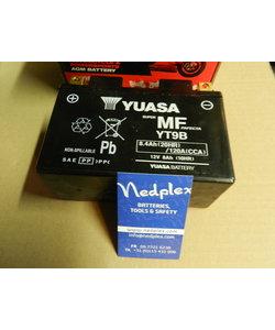 YT9B  YUASA geladen op fabriek (WET CHARGED)