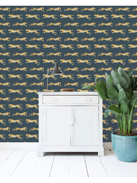 Creative Lab Amsterdam Leopard Grey Blue Wallpaper on roll