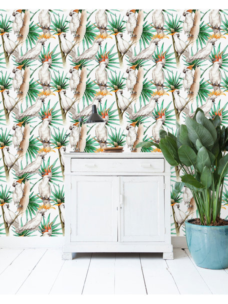 Creative Lab Amsterdam White Parrot Wallpaper on roll
