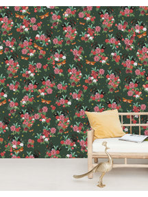 Creative Lab Amsterdam Wild Roses Wallpaper Mural Gold