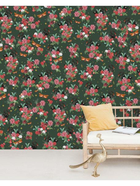 Creative Lab Amsterdam Wild Roses Wallpaper Mural Gold