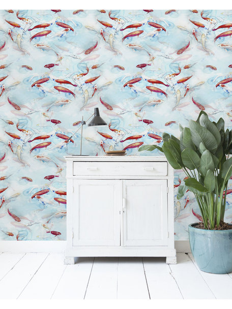 Creative Lab Amsterdam Fishes Wallpaper Blue