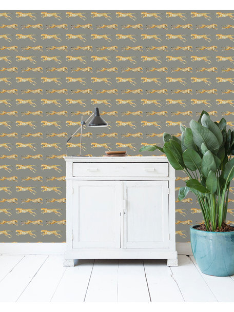 Creative Lab Amsterdam Leopard Wallpaper Grey