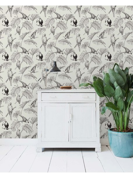 Leopard Wallpaper Grey