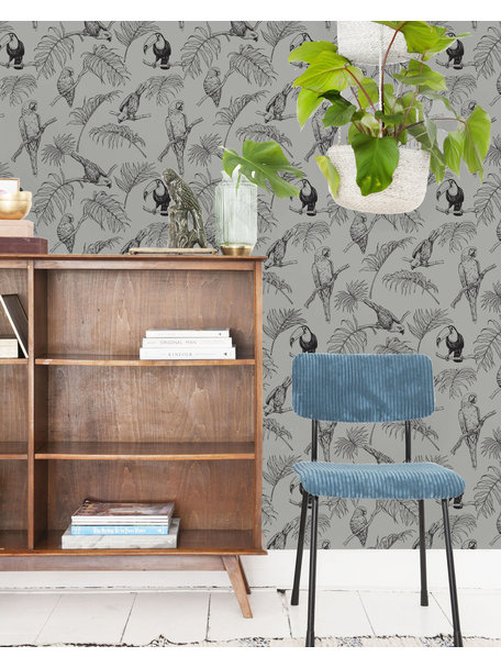 Creative Lab Amsterdam Tropic Tucan Wallpaper Taupe