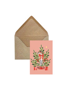 Creative Lab Amsterdam Cheetah Berry Christmas Card Pink per 6