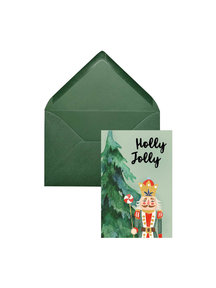 Creative Lab Amsterdam Holly Christmas Card Green (set of 8 cards) per 6