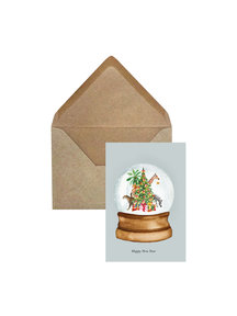 Creative Lab Amsterdam Snow Globe Christmas Card Blue per 6