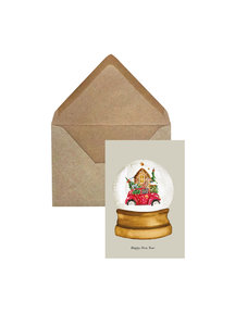 Creative Lab Amsterdam Snow Globe Christmas Card Taupe per 6