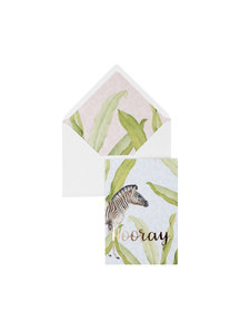Creative Lab Amsterdam Blue Zebra Greeting Card - Hooray - per 6