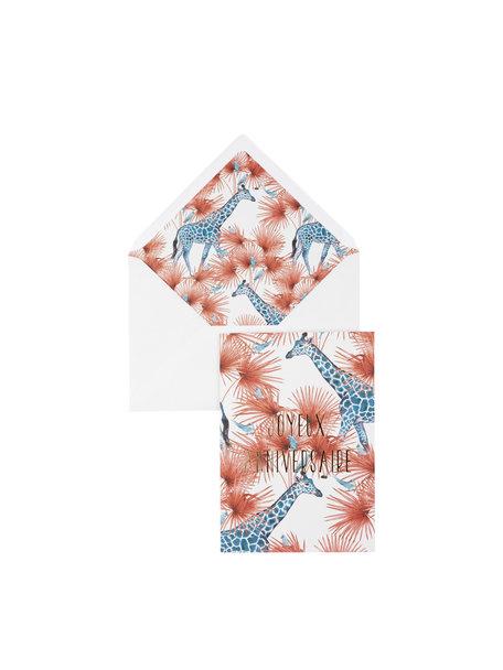 Creative Lab Amsterdam Blue Giraffe Greeting Card - Joyeux Anniversaire - per 6