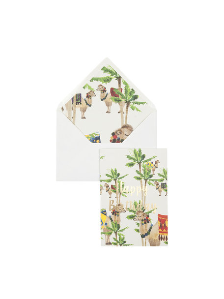 Camel Palm Greeting Card - Happy Birthday - per 6