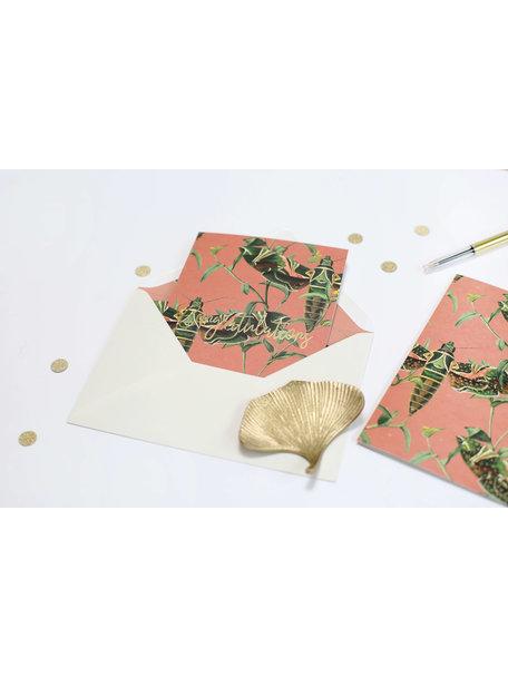 Dusty Pink Greeting Card - Herzlichen Glückwünschen - per 6