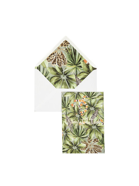 Panther Leaves Greeting Card - Congratulations - per 6