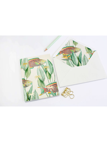 Parrot fish Greeting Card - With Love - per 6