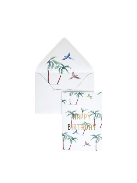 Parrot Palm Greeting Card - Happy Birthday - per 6