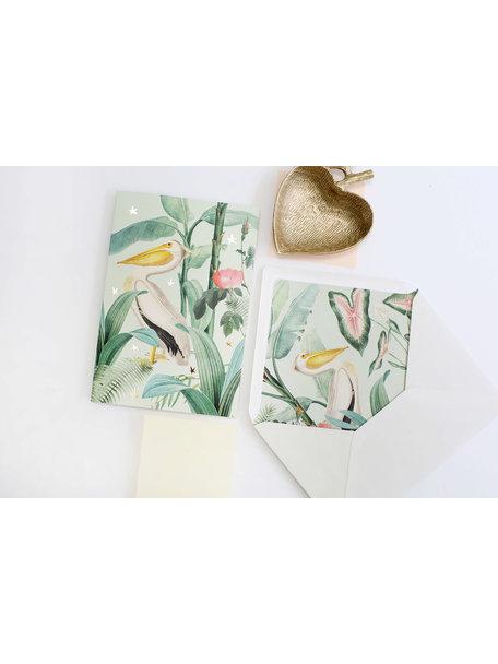 Pelican Greeting Card - Bonne Chance - per 6